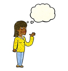 Cartoon woman explaining with thought bubble vector