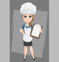 chef woman holding clipboard cute cartoon vector image