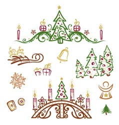 Christmas trees gifts vector