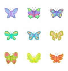 Colored butterfly icons set cartoon style vector