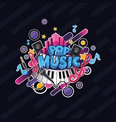 Colorful detailed pop music can be vector
