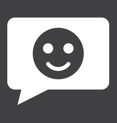 Comment with smile solid icon feedback website vector