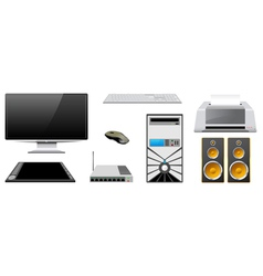 Computer peripheral devices are isolated on a vector image vector image