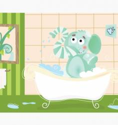 Elephant bathing vector