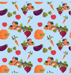 Farmland house vegetables farming seamless pattern vector