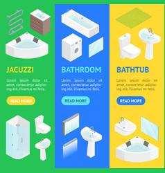 Furniture bathroom interior banner vecrtical set vector