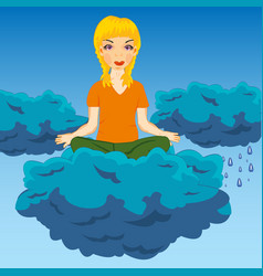 Girl on cloud vector