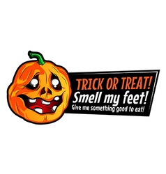 Halloween pumpkin sticker with funny text vector image
