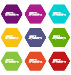 Hearse icon set color hexahedron vector