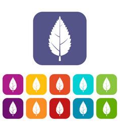 Hornbeam leaf icons set flat vector