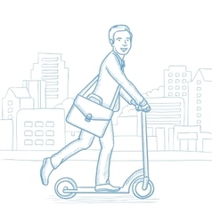 Man riding kick scooter in the city street vector
