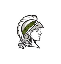 Minerva head side profile retro vector