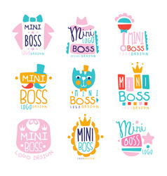 Mini boss logo original design colorful hand drawn vector