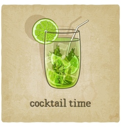 old background with cocktail vector image vector image