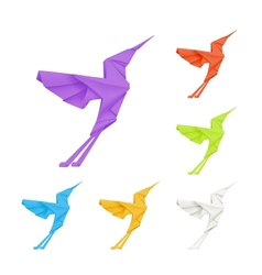 Origami hummingbirds set vector
