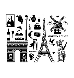 Paris icons vector image vector image