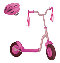 pink color kick scooter and protective helmet vector image