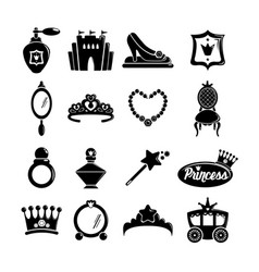 Princess doll icons set simple style vector