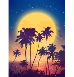 Retro style full moon rise with palm silhouettes vector