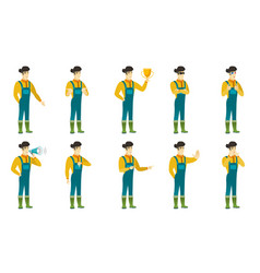 Set of with farmer characters vector