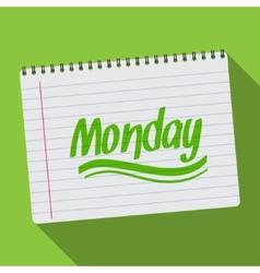 Spiral calendar monday notebook notepad long vector image vector image