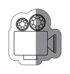 Sticker silhouette with retro movie projector vector