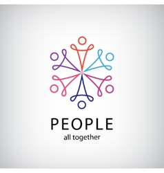 Teamwork social net people together icon vector