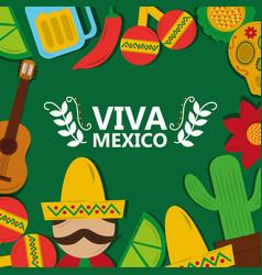 Viva mexico tradition culture festival poster vector