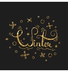 Winter golden lettering design typographic vector