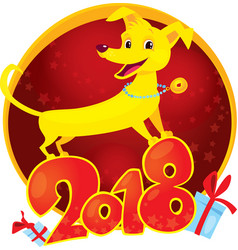 Yellow dog symbol of the new year 2018 vector