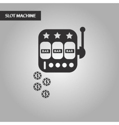 black and white style poker slot machine vector image