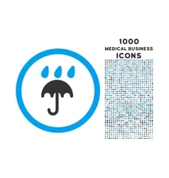 Rain protection rounded icon with 1000 bonus icons vector