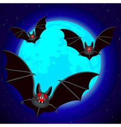Bats and blue moon vector