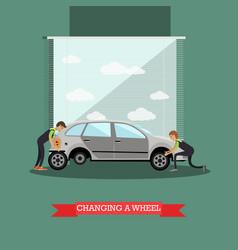 Wheel change car repair service vector