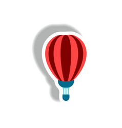 stylish icon in paper sticker style air balloon vector image