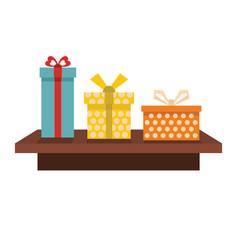 set flat cartoon shelf witn gifts vector image