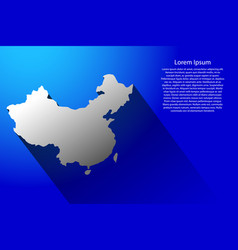 abstract map of china with long shadow on blue vector image