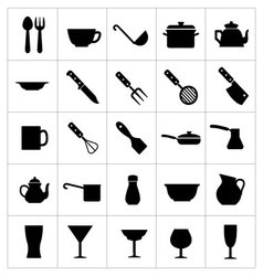 Dishware icons vector