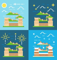 Flat design of great wall china vector