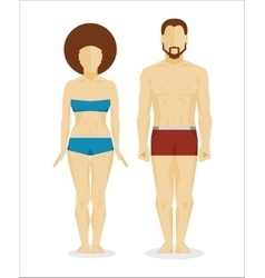 White man and woman bodies vector