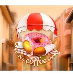 Pink donut and cup of coffee awning over entrance vector image