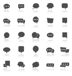 Speech bubble icons with reflect on white vector