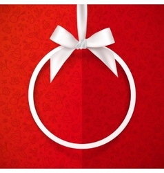 White holiday round frame with bow and silky vector image