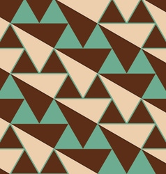 Retro 3d green and brown diagonal triangles vector