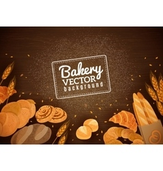 Backery fresh bread dark wood background vector