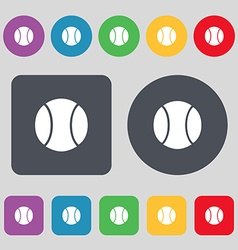 Baseball icon sign a set of 12 colored buttons vector