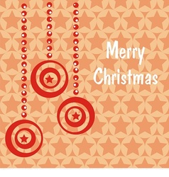 Postcard with red christmas toys vector