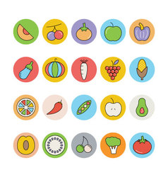 Fruits and vegetables icons 2 vector