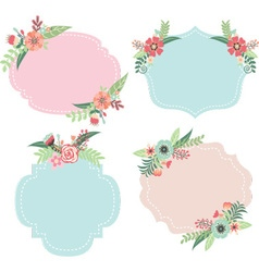 Wedding flower frames vector