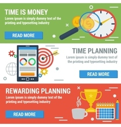 Three horizontal banners time management vector